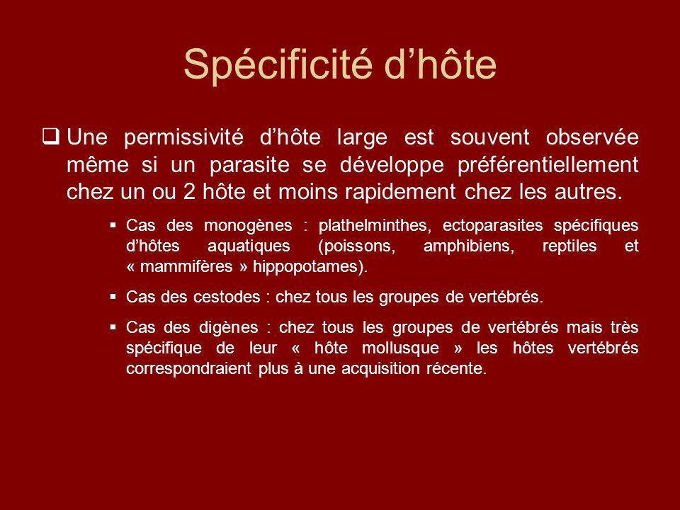 Spécificité d'hôte  Une permissivité d'hôte large est souvent observée même si un parasite se développe préférentiellement chez un ou 2 hôte et moins