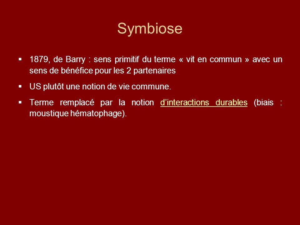 Symbiose  1879, de Barry : sens primitif du terme « vit en commun » avec un sens de bénéfice pour les 2 partenaires  US plutôt une notion de vie commune.