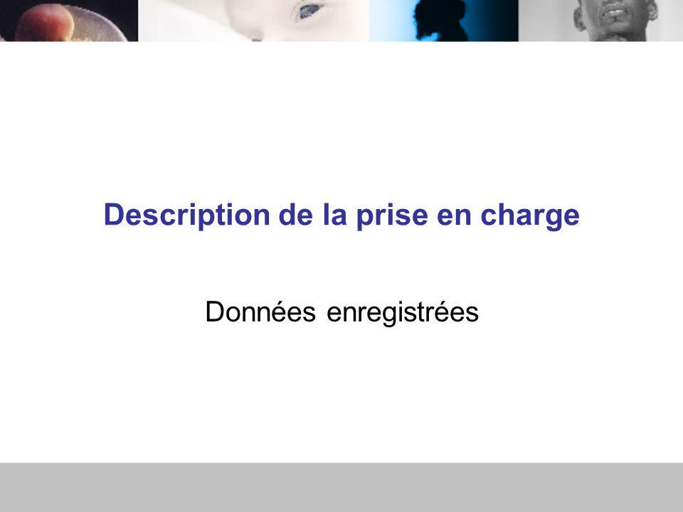 Description de la prise en charge Données enregistrées