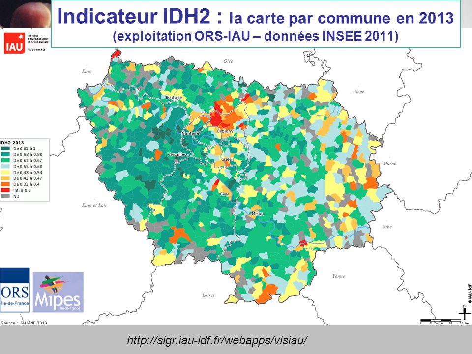 Indicateur IDH2 : la carte par commune en 2013 (exploitation ORS-IAU – données INSEE 2011) http://sigr.iau-idf.fr/webapps/visiau/