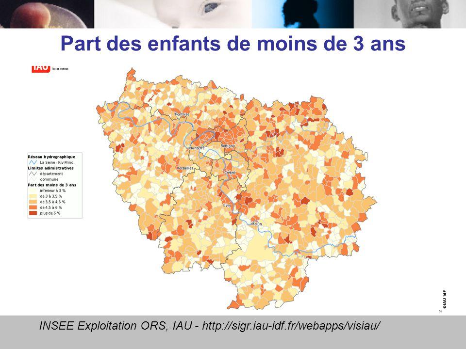 Part des enfants de moins de 3 ans INSEE Exploitation ORS, IAU - http://sigr.iau-idf.fr/webapps/visiau/