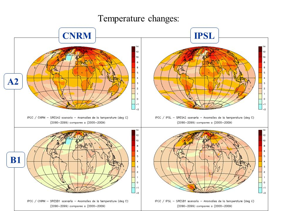 Temperature changes: A2 B1 CNRMIPSL