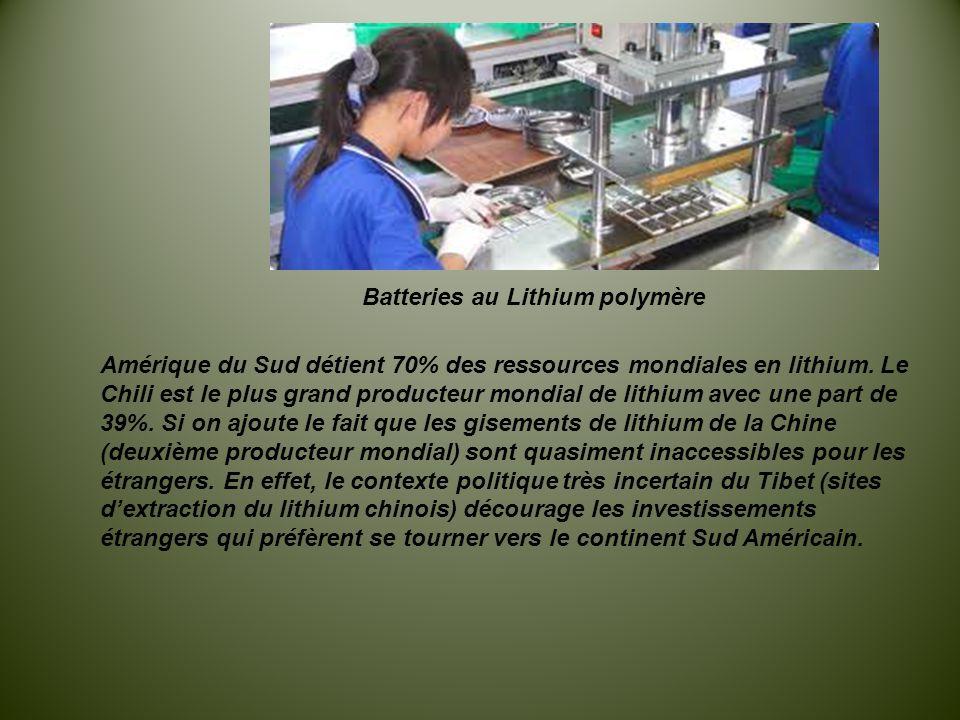 Batteries au Lithium polymère Amérique du Sud détient 70% des ressources mondiales en lithium. Le Chili est le plus grand producteur mondial de lithiu