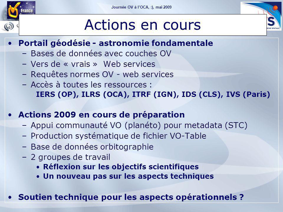 Journée OV à l'OCA, :), mai 2009 Le futur… pour OV-GAFF Portail géodésie - astronomie fondamentale –Bases de données avec couches OV –Vers de « vrais » Web services –Requêtes normes OV - web services –Accès à toutes les ressources : IERS (OP), ILRS (OCA), ITRF (IGN), IDS (CLS), IVS (Paris) Actions 2009 en cours de préparation –Appui communauté VO (planéto) pour metadata (STC) –Production systématique de fichier VO-Table –Base de données orbitographie –2 groupes de travail Réflexion sur les objectifs scientifiques Un nouveau pas sur les aspects techniques Soutien technique pour les aspects opérationnels .
