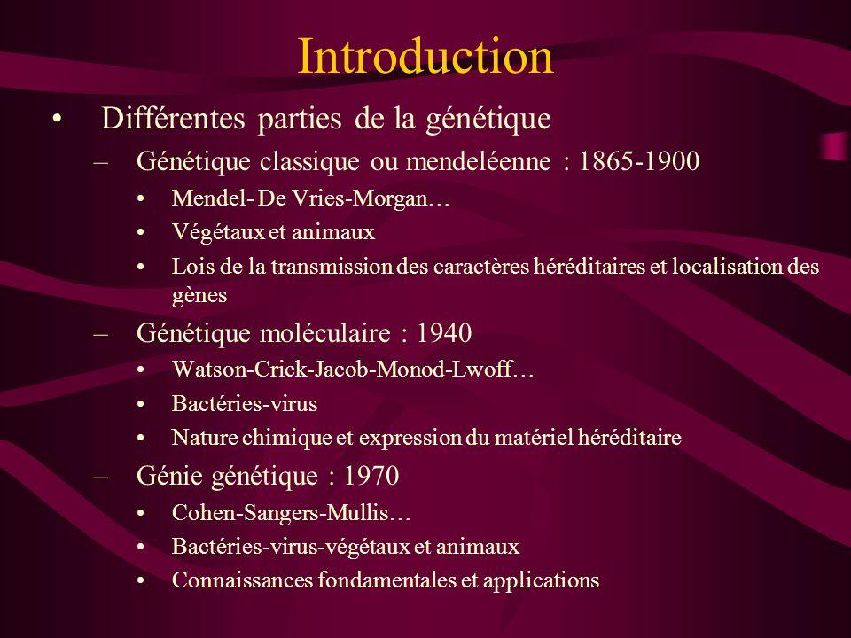 Introduction Différentes parties de la génétique –Génétique classique ou mendeléenne : 1865-1900 Mendel- De Vries-Morgan… Végétaux et animaux Lois de