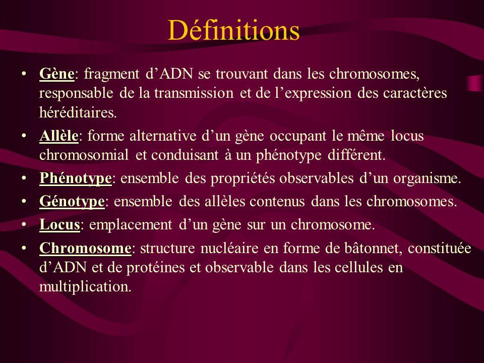 Définitions GèneGène: fragment d'ADN se trouvant dans les chromosomes, responsable de la transmission et de l'expression des caractères héréditaires.