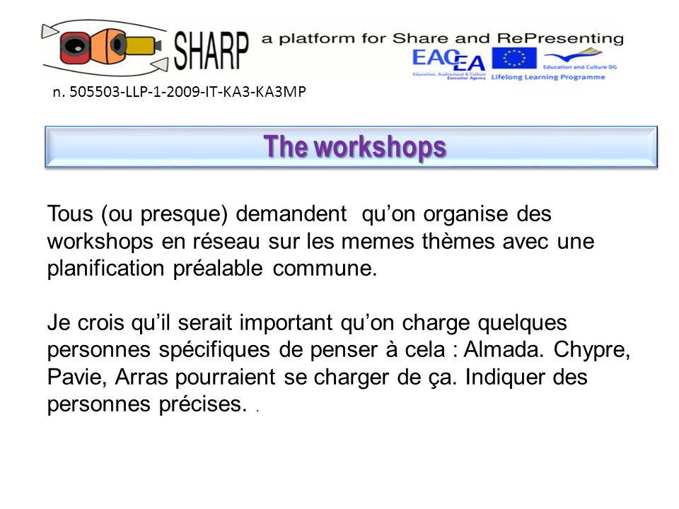 The workshops The workshops n.