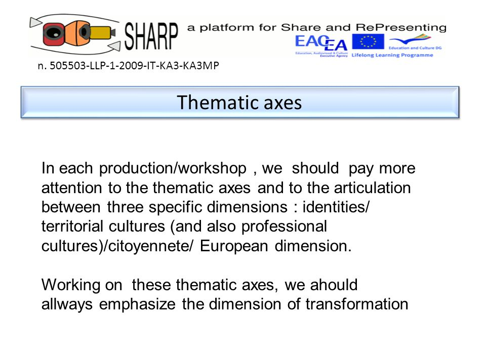 Thematic axes n. 505503-LLP-1-2009-IT-KA3-KA3MP In each production/workshop, we should pay more attention to the thematic axes and to the articulation