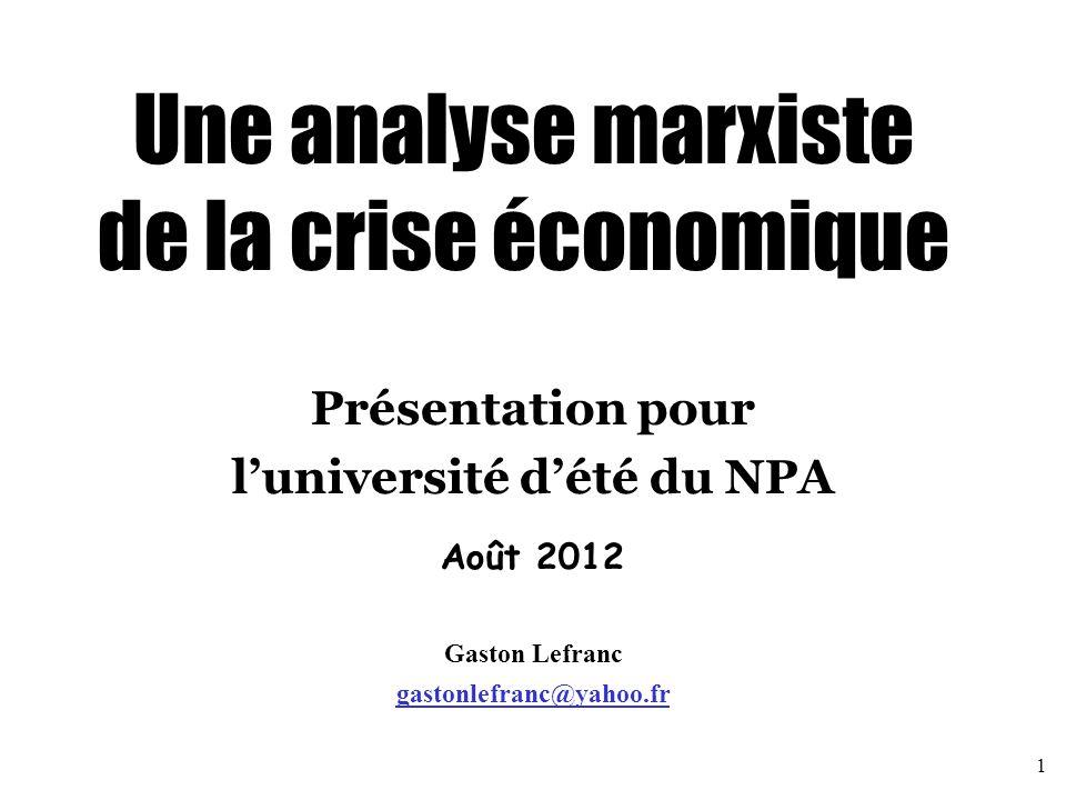 Lectures pour approfondir Economistes marxistes : CARCHEDI Guglielmo : http://marx2010.weebly.com/http://marx2010.weebly.com/ DUMENIL Gérard et LEVY Dominique : http://www.jourdan.ens.fr/levy/http://www.jourdan.ens.fr/levy/ FREEMAN Alan : http://ideas.repec.org/e/pfr102.htmlhttp://ideas.repec.org/e/pfr102.html GILL Louis : http://classiques.uqac.ca/contemporains/gill_louis/gill_louis.htmlhttp://classiques.uqac.ca/contemporains/gill_louis/gill_louis.html GROSSMAN Henryk : http://www.marxists.org/archive/grossman/index.htmhttp://www.marxists.org/archive/grossman/index.htm HARMAN Chris : http://fr.wikipedia.org/wiki/Chris_Harmanhttp://fr.wikipedia.org/wiki/Chris_Harman HUSSON Michel : http://hussonet.free.fr/ (met en ligne de nombreux textes et ouvrages)http://hussonet.free.fr/ KLIMAN Andrew : http://akliman.squarespace.com/http://akliman.squarespace.com/ MATTICK Paul : http://bataillesocialiste.files.wordpress.com/2008/12/mattick-crises-et- theorie-des-crises-1974.pdfhttp://bataillesocialiste.files.wordpress.com/2008/12/mattick-crises-et- theorie-des-crises-1974.pdf YAFFE David : http://www.marxists.org/subject/economy/authors/yaffed/http://www.marxists.org/subject/economy/authors/yaffed/ Blogs d'économie marxiste : http://critiqueofcrisistheory.wordpress.com/ http://thenextrecession.wordpress.com/ http://economicsofimperialism.blogspot.com/ http://kapitalism101.wordpress.com/ 32