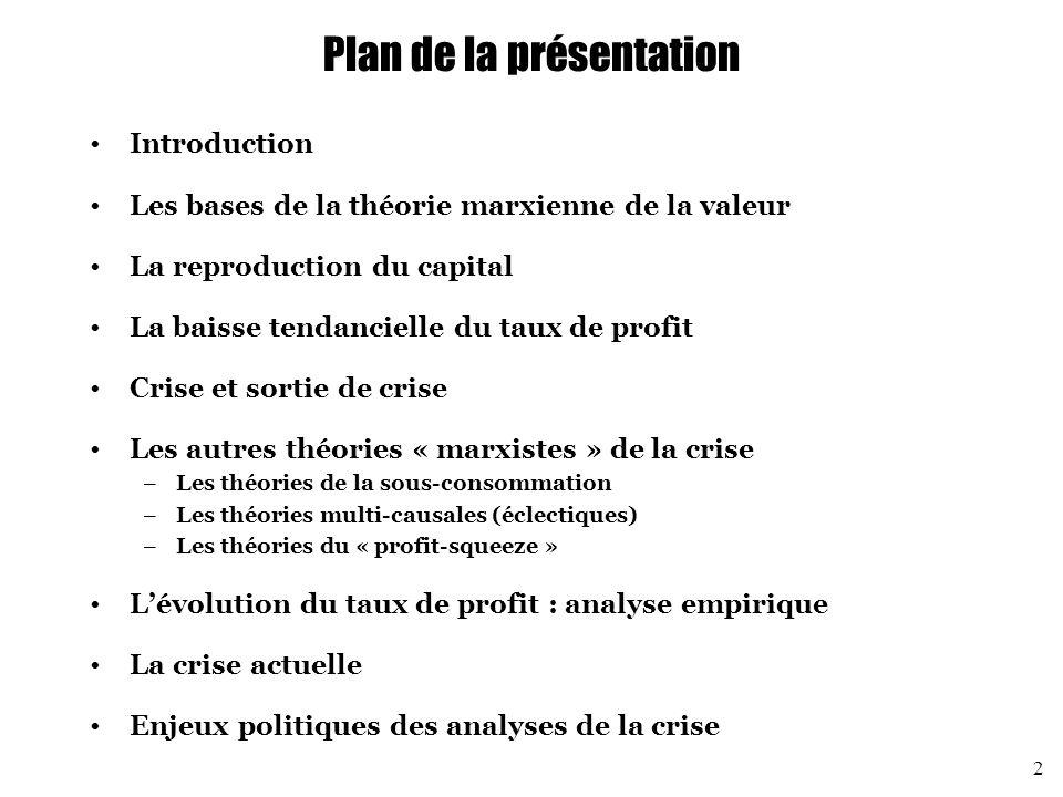 Les autres théories « marxistes » de la crise Les théories multi-causales (éclectiques) (2) Les deux causes joueraient simultanément : les crises seraient à la fois des crises de suraccumulation et des crises de sous-consommation « Ainsi les crises de la production capitaliste sont-elles toujours simultanément des crises de suraccumulation du capital (productif) et de surproduction de marchandises.