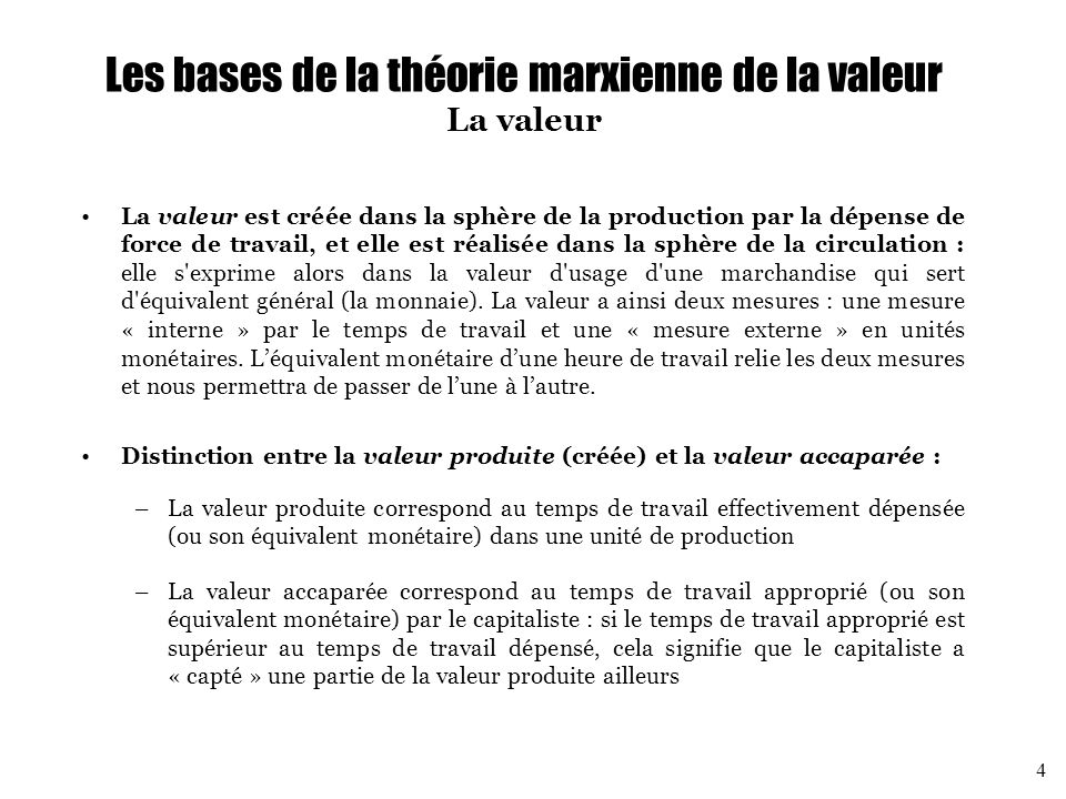 Les bases de la théorie marxienne de la valeur Décomposition de la valeur des marchandises Pour pouvoir produire, le capitaliste doit à la fois acheter des moyens de production et des forces de travail.