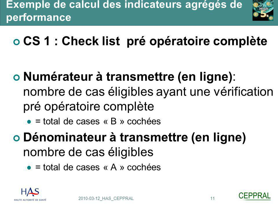 112010-03-12_HAS_CEPPRAL Exemple de calcul des indicateurs agrégés de performance CS 1 : Check list pré opératoire complète Numérateur à transmettre (