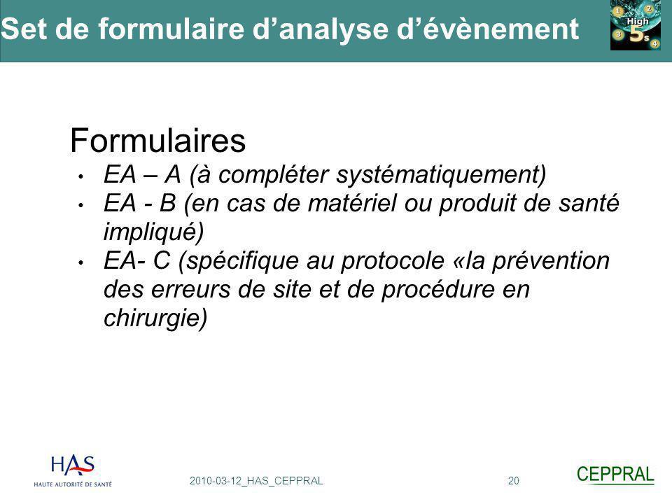 202010-03-12_HAS_CEPPRAL Set de formulaire d'analyse d'évènement Formulaires EA – A (à compléter systématiquement) EA - B (en cas de matériel ou produ