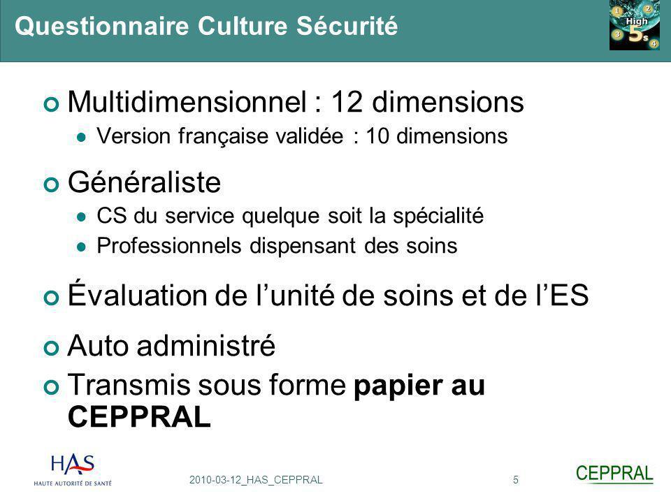 52010-03-12_HAS_CEPPRAL Questionnaire Culture Sécurité Multidimensionnel : 12 dimensions Version française validée : 10 dimensions Généraliste CS du s