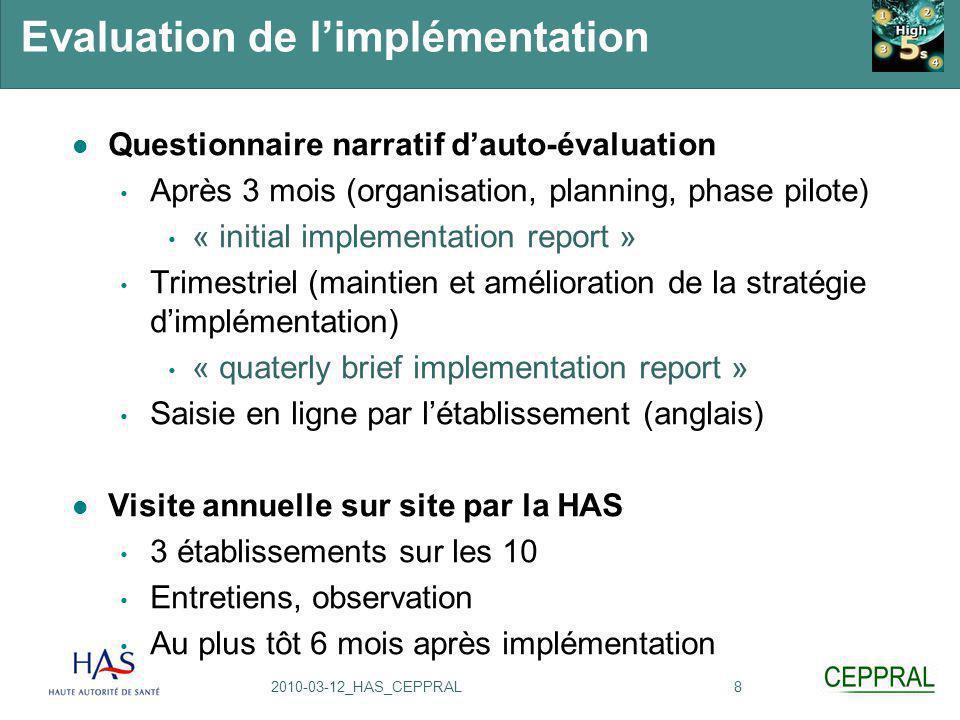 82010-03-12_HAS_CEPPRAL Evaluation de l'implémentation Questionnaire narratif d'auto-évaluation Après 3 mois (organisation, planning, phase pilote) «