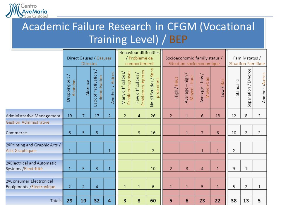 Academic Failure Research in CFGM (Vocational Training Level) / BEP Direct Causes / Casuses Directes Behaviour difficulties / Probleme de comportement Socioeconomic family status / Situation socioeconomique Family status / Situation Familiale Dropping out / Abandon Absence Lack of motivation / demotivation Another / Autres Many difficulties/ Problemes graves Few difficulties / Problemes légeres No difficulties / Sans problemes High / Haut Average – high / Moyen - haut Average – low / Moyen-bas Low / Bas Standard Separation / Divorce Another / Autres Administrative Management197172 2426216131282 Gestion Administrative Commerce658 316 1761022 2ºPrinting and Graphic Arts / Arts Graphiques1 1 2 112 2ºElectrical and Automatic Systems /Electritité1531 10234191 2ºConsumer Electronical Equipments /Electronique224 1161151521 Totals: 2919324 386056232238135