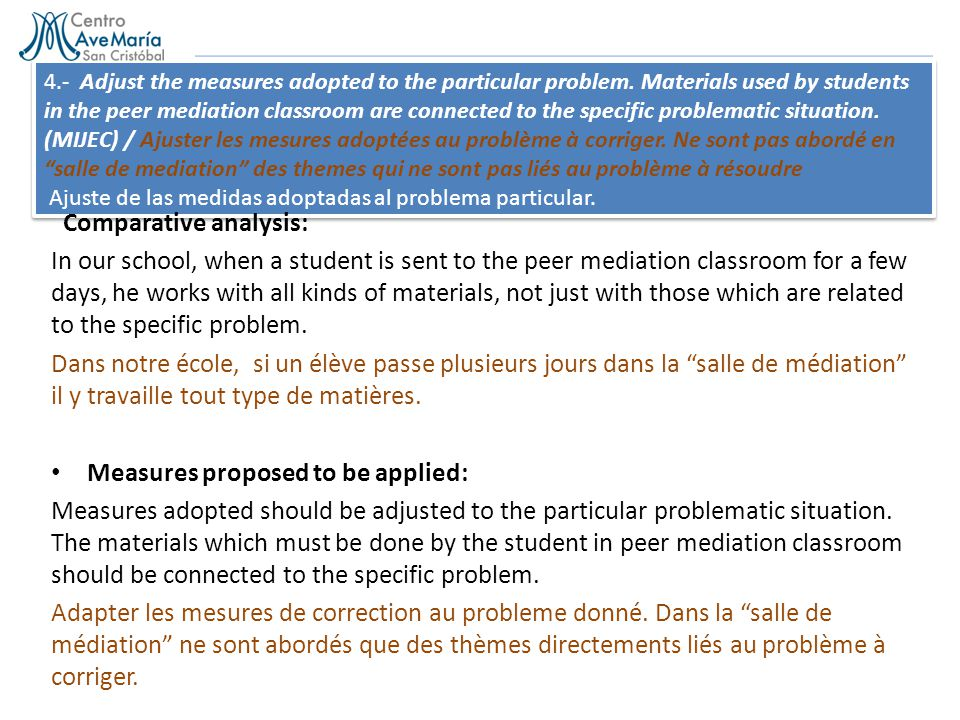4.- Adjust the measures adopted to the particular problem. Materials used by students in the peer mediation classroom are connected to the specific pr