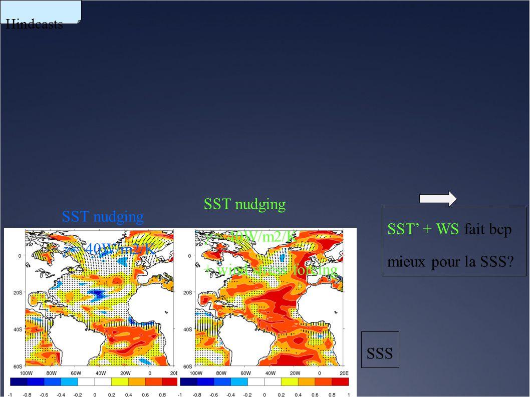 SST nudging  = 40W/m2/K SST nudging  = 40W/m2/K + wind stress forcing SSS Hindcasts SST' + WS fait bcp mieux pour la SSS?
