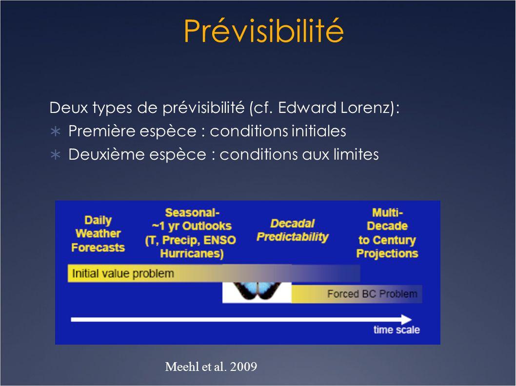 Prévisibilité Deux types de prévisibilité (cf. Edward Lorenz):  Première espèce : conditions initiales  Deuxième espèce : conditions aux limites Mee