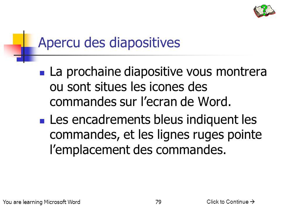 You are learning Microsoft Word Click to Continue  79 Apercu des diapositives La prochaine diapositive vous montrera ou sont situes les icones des commandes sur l'ecran de Word.