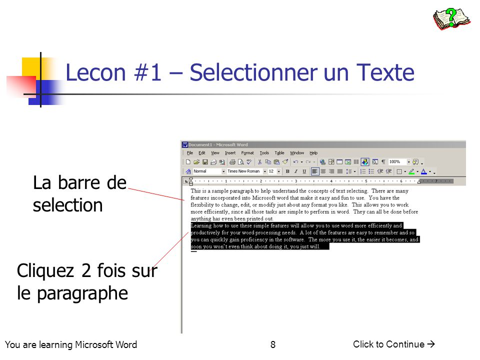 You are learning Microsoft Word Click to Continue  29 Lesson #5 - Scrolling Using the keyboard Click the PgUp or PgDn key to move screen one page up or down, respectively Press Ctrl+Home or Ctrl+End to automatically move to the beginning or end of a document, respectively