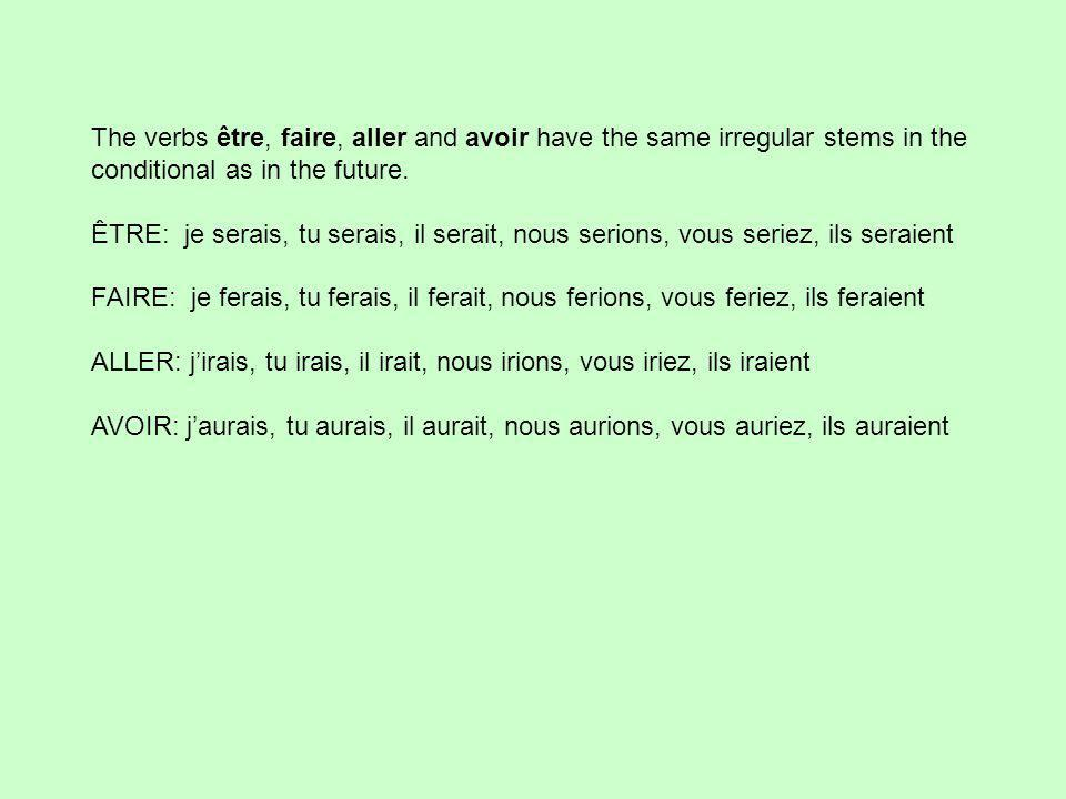The verbs être, faire, aller and avoir have the same irregular stems in the conditional as in the future.