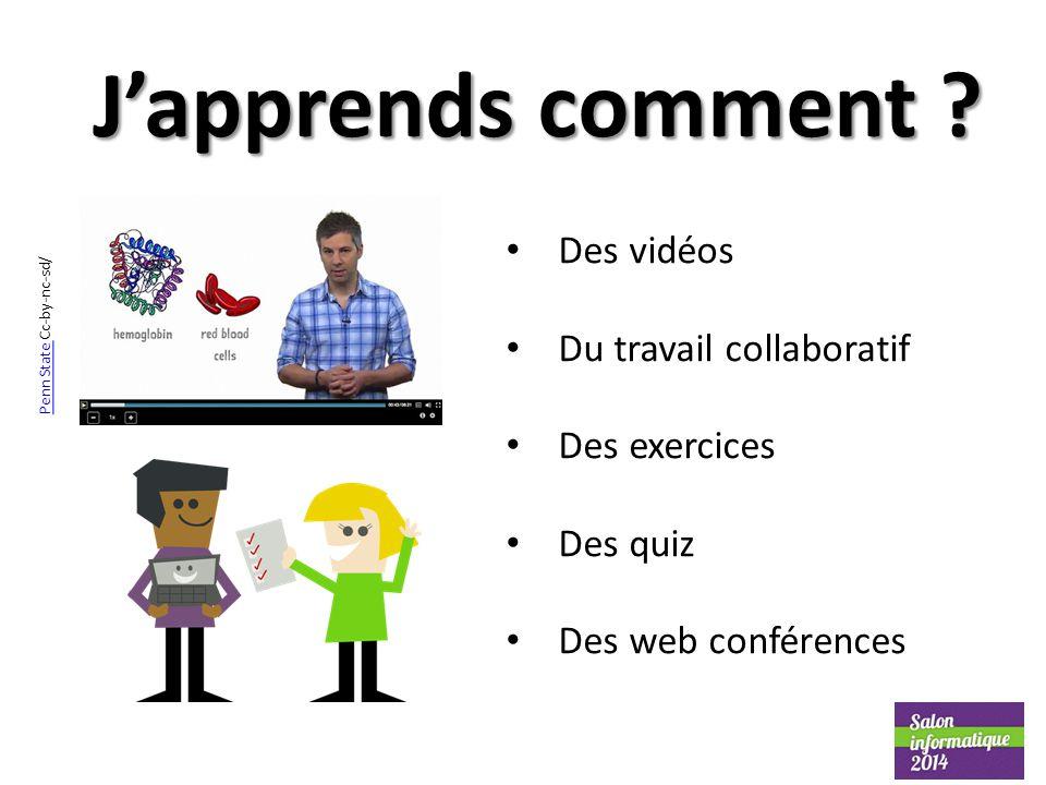 J'apprends comment ? Des vidéos Du travail collaboratif Des exercices Des quiz Des web conférences Penn State Penn State Cc-by-nc-sd/