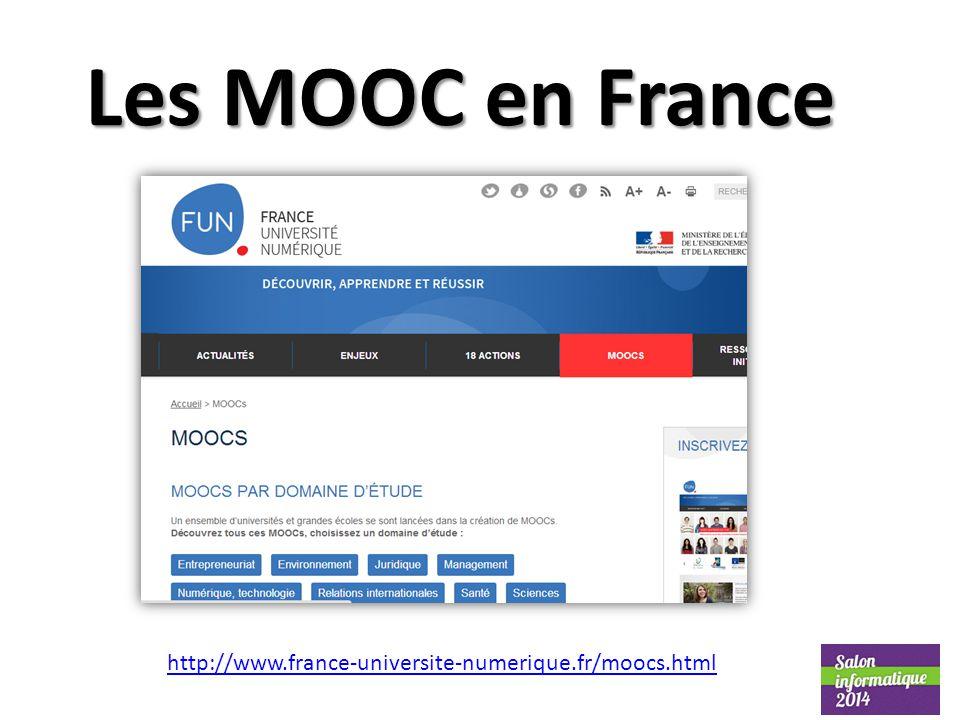 Les MOOC en France http://www.france-universite-numerique.fr/moocs.html