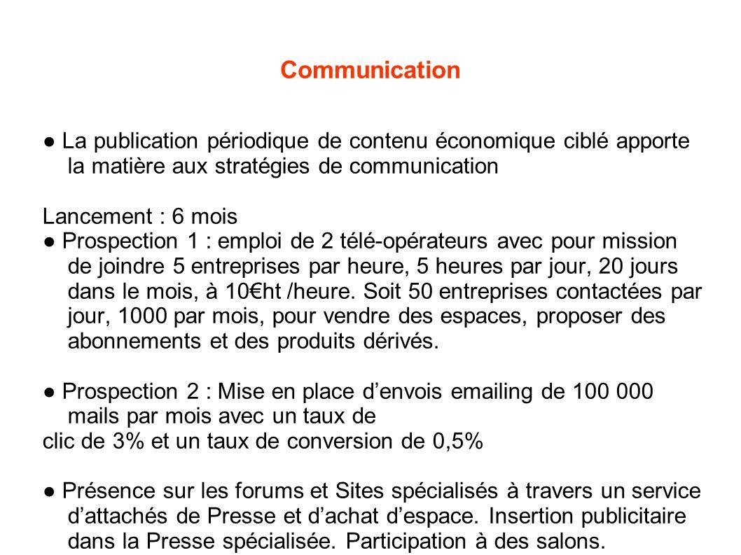 Communication ● La publication périodique de contenu économique ciblé apporte la matière aux stratégies de communication Lancement : 6 mois ● Prospect