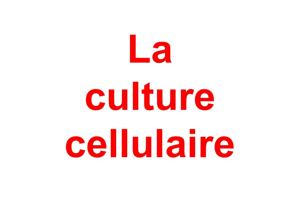 Différents types Culture secondaire Propagation d'une culture primaire.