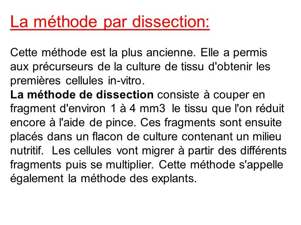 La méthode par dissection: Cette méthode est la plus ancienne. Elle a permis aux précurseurs de la culture de tissu d'obtenir les premières cellules i