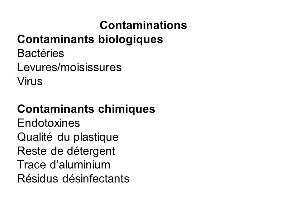 Contaminations Contaminants biologiques Bactéries Levures/moisissures Virus Contaminants chimiques Endotoxines Qualité du plastique Reste de détergent