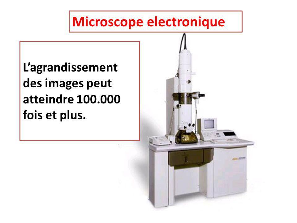 Microscope electronique L'agrandissement des images peut atteindre 100.000 fois et plus.