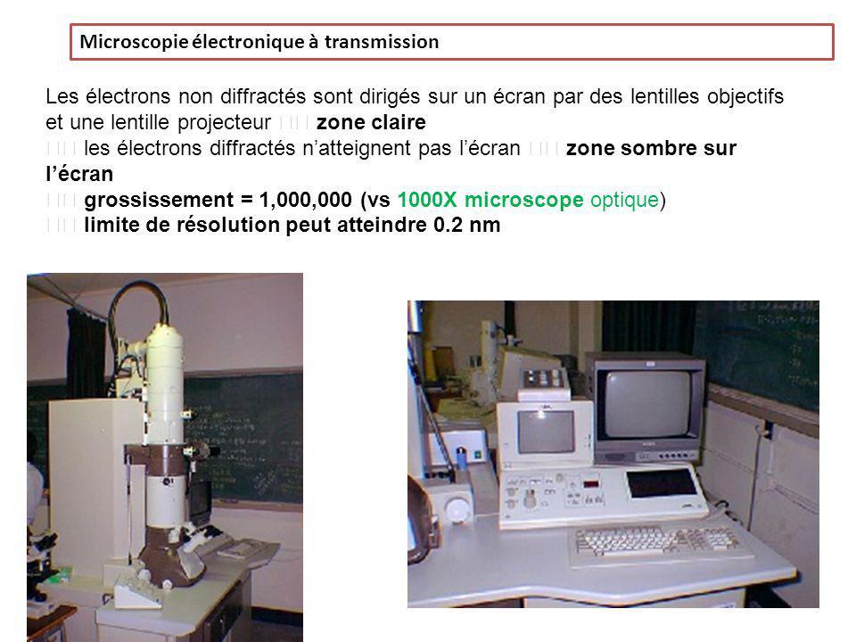 Microscopie électronique à transmission Les électrons non diffractés sont dirigés sur un écran par des lentilles objectifs et une lentille projecteur