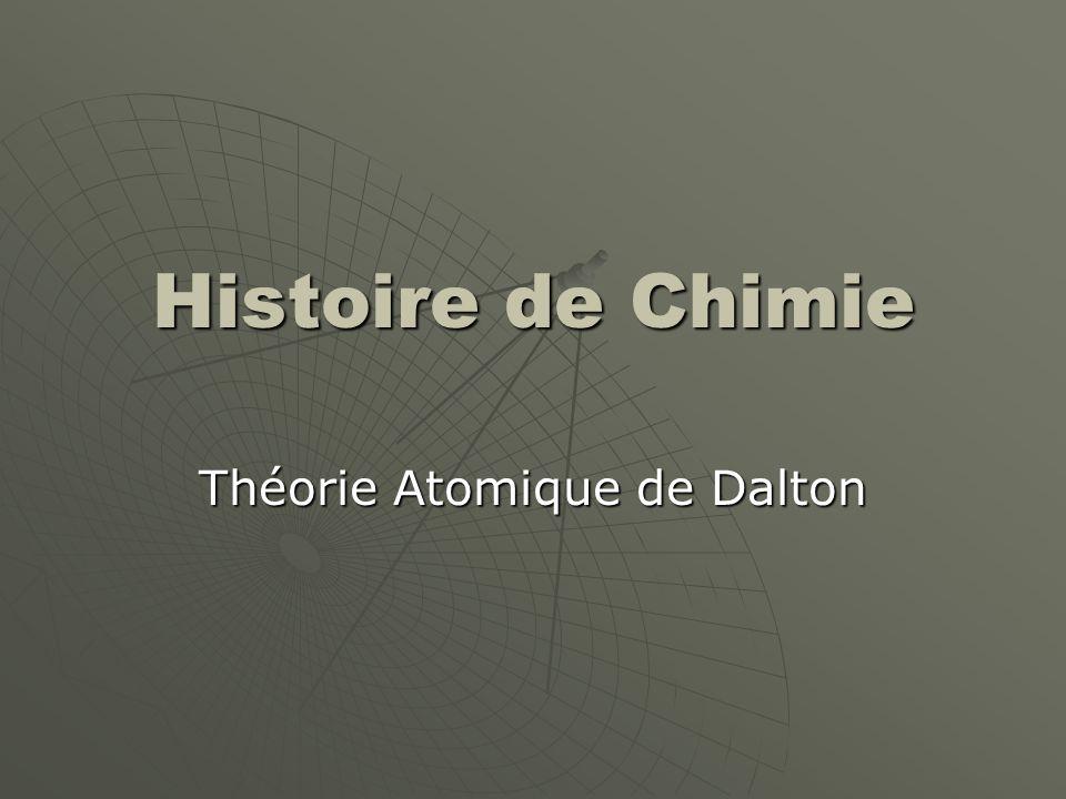 Histoire de Chimie 420 BC Démocrite déclare que l'atome est l'unité le plus simple de la matière.