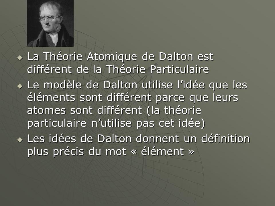  La Théorie Atomique de Dalton est différent de la Théorie Particulaire  Le modèle de Dalton utilise l'idée que les éléments sont différent parce qu