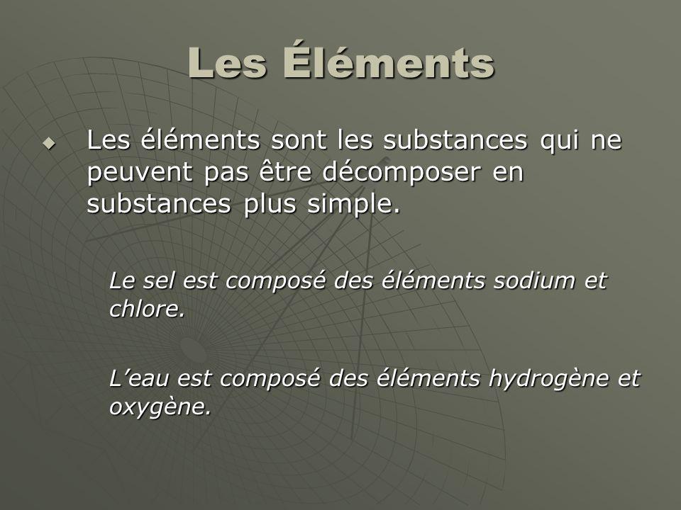 Les Éléments  Les éléments sont les substances qui ne peuvent pas être décomposer en substances plus simple. Le sel est composé des éléments sodium e