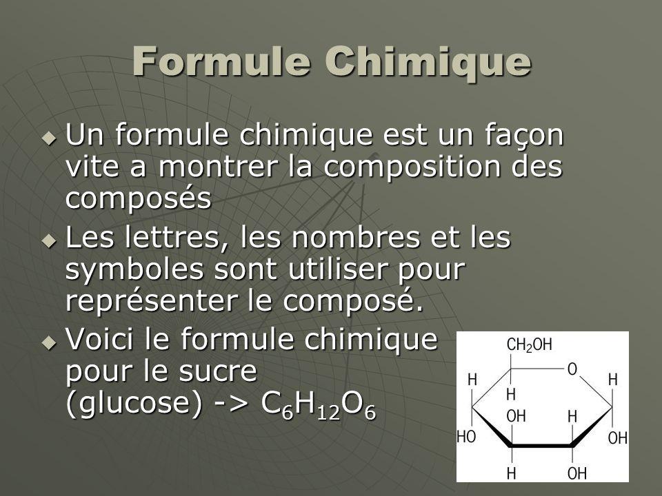 Formule Chimique  Un formule chimique est un façon vite a montrer la composition des composés  Les lettres, les nombres et les symboles sont utilise