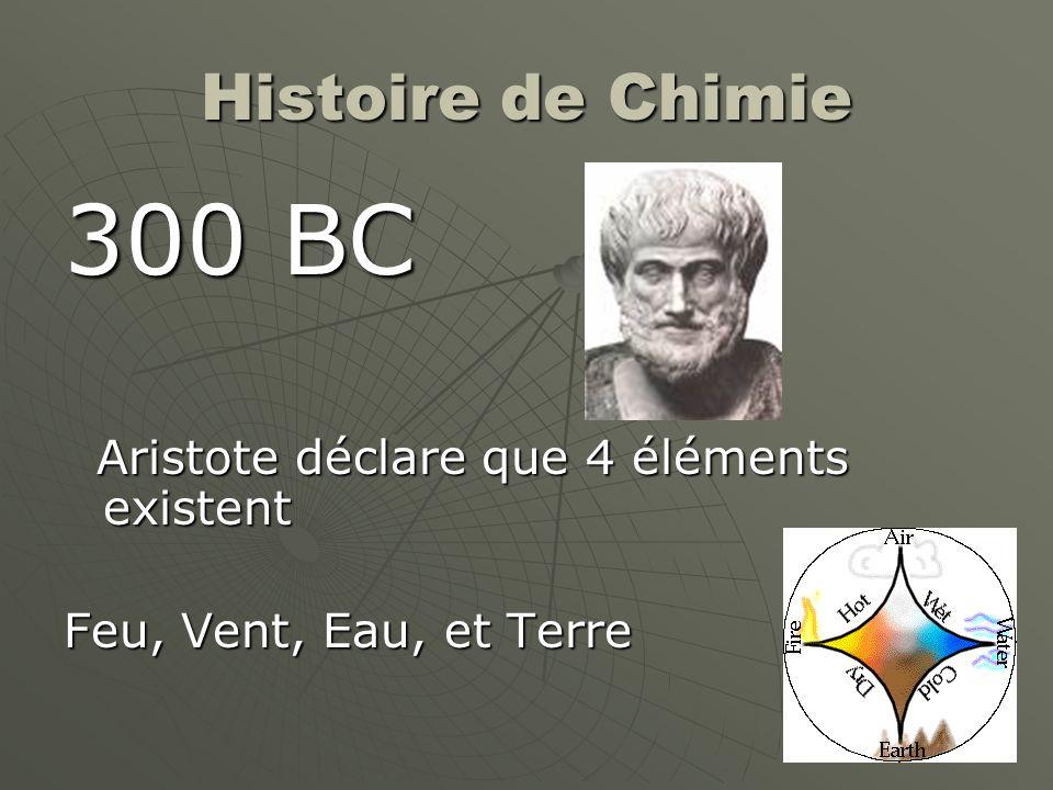 Histoire de Chimie 300 BC Aristote déclare que 4 éléments existent Aristote déclare que 4 éléments existent Feu, Vent, Eau, et Terre