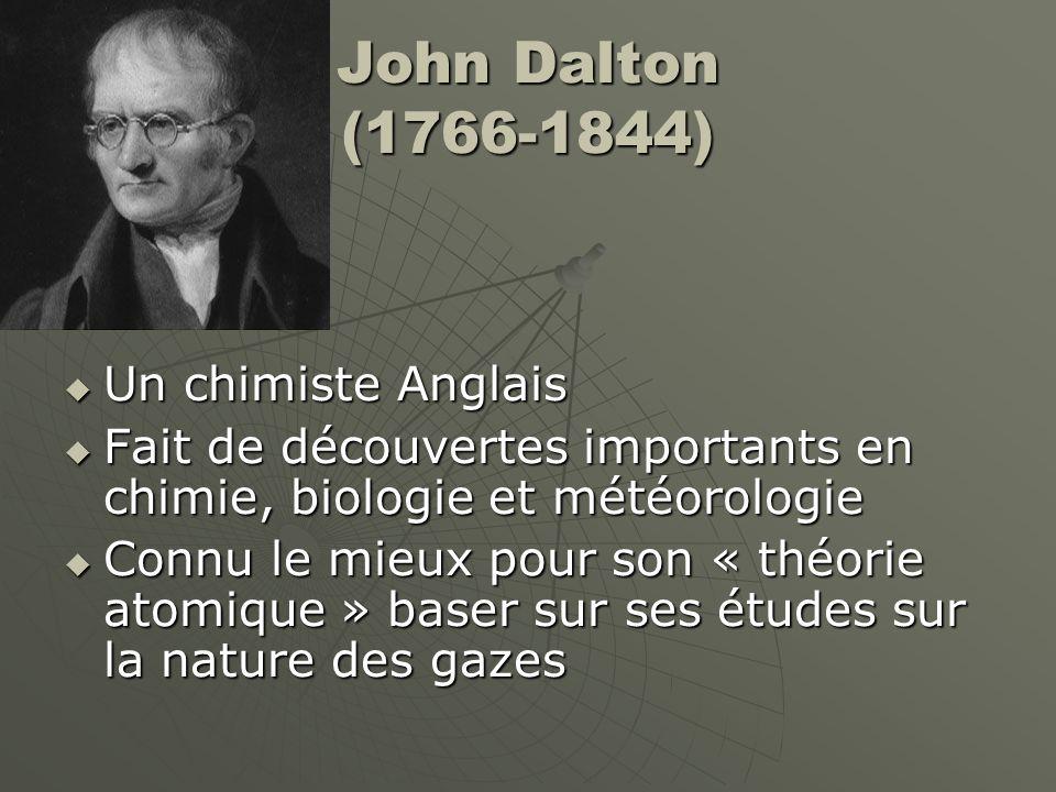 John Dalton (1766-1844)  Le Théorie Atomique de Dalton continue le « Théorie Particulaire de la Matière » Toute matière se compose de particules minusculesToute matière se compose de particules minuscules Les particules sont toujours en mouvementLes particules sont toujours en mouvement Les particules s'attirent mutuellementLes particules s'attirent mutuellement Chaque substance pure a son propre type de particules, qui sont différents des particules des autres substances puresChaque substance pure a son propre type de particules, qui sont différents des particules des autres substances pures La mouvement des particules est affecter par la températureLa mouvement des particules est affecter par la température