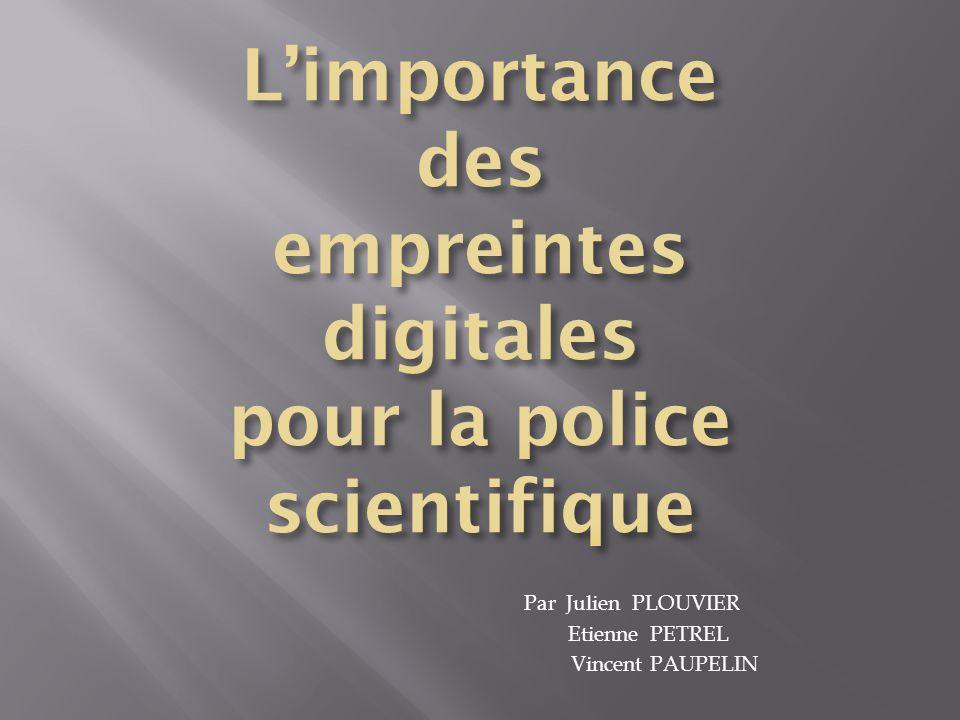 Par Julien PLOUVIER Etienne PETREL Vincent PAUPELIN