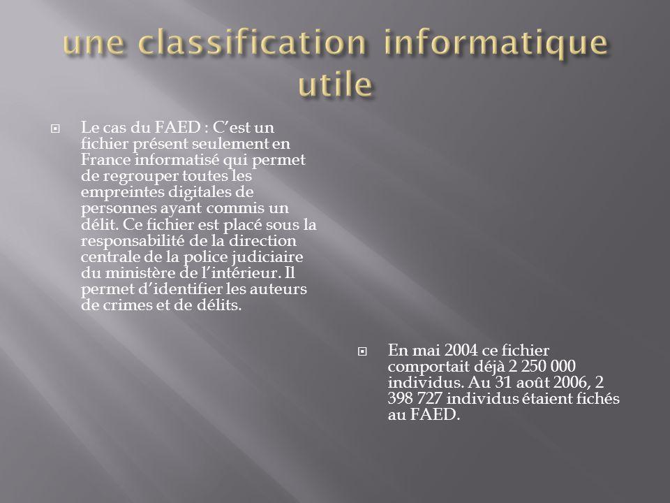  Les enquêteurs se servent donc de ce fichier afin de comparer les empreintes digitales relevées et celles qui sont en mémoire.  Si l'ordinateur tro