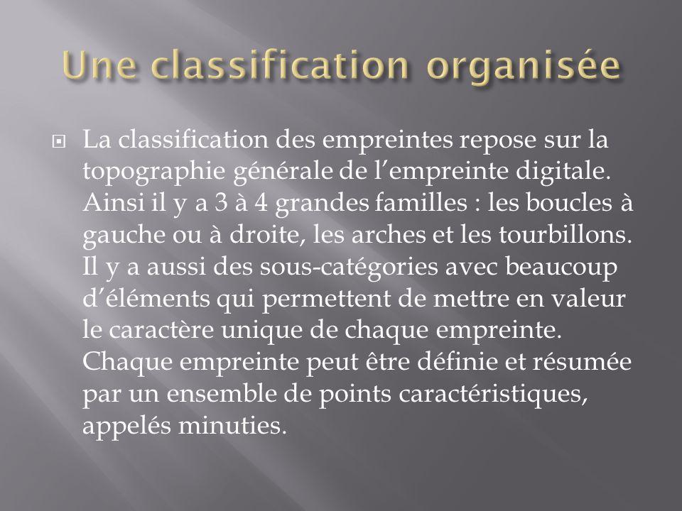  Le cas du FAED : C'est un fichier présent seulement en France informatisé qui permet de regrouper toutes les empreintes digitales de personnes ayant