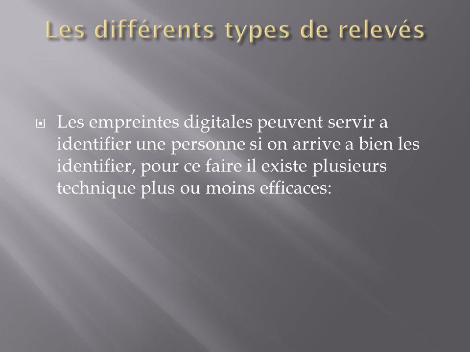 hypothèse  A chaque individu correspond des empreintes digitales différentes. L'exploitation des empreintes digitales passe par divers moyens de rele