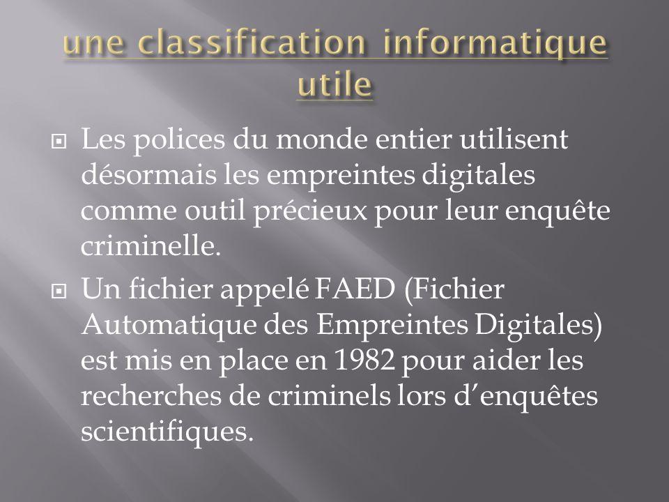  Les polices du monde entier utilisent désormais les empreintes digitales comme outil précieux pour leur enquête criminelle.