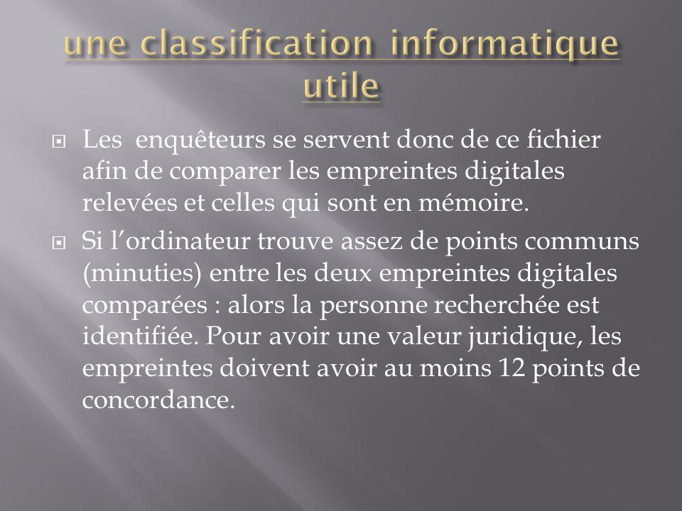  Les enquêteurs se servent donc de ce fichier afin de comparer les empreintes digitales relevées et celles qui sont en mémoire.