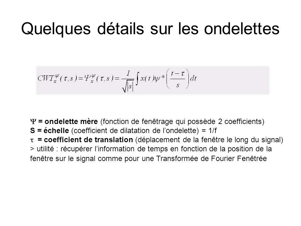 Quelques détails sur les ondelettes  = ondelette mère (fonction de fenêtrage qui possède 2 coefficients) S = échelle (coefficient de dilatation de l'