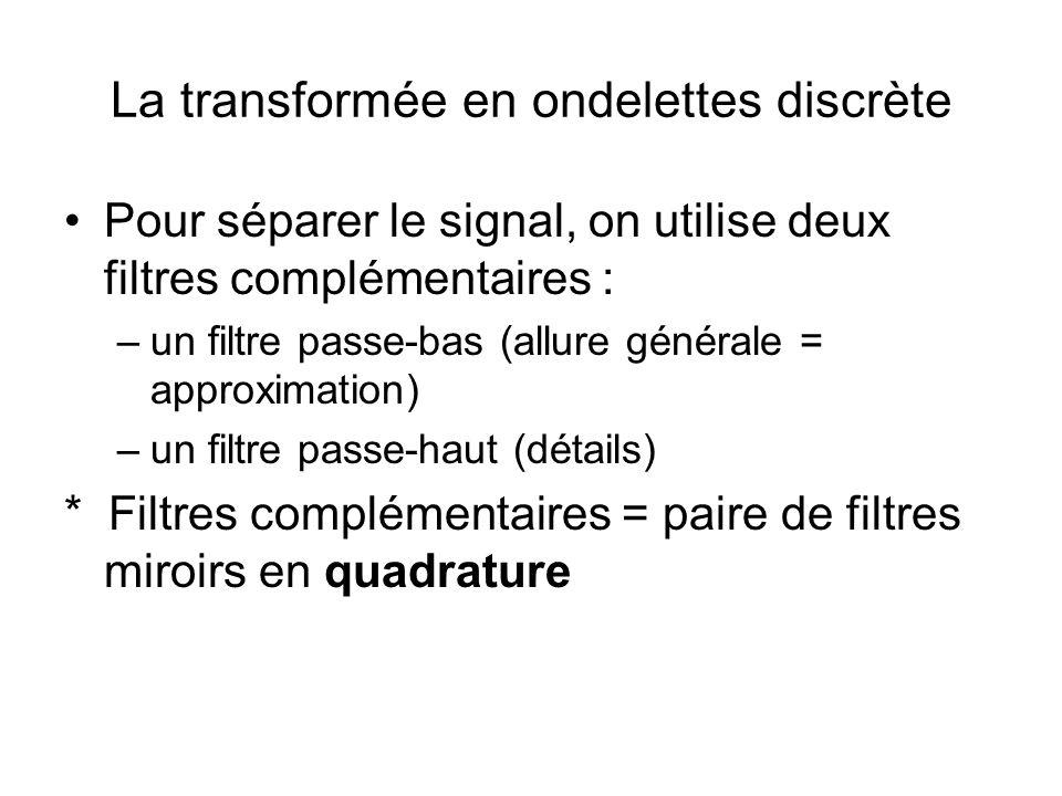 La transformée en ondelettes discrète Pour séparer le signal, on utilise deux filtres complémentaires : –un filtre passe-bas (allure générale = approx