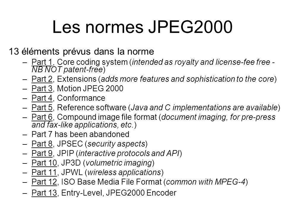 Les normes JPEG2000 13 éléments prévus dans la norme –Part 1, Core coding system (intended as royalty and license-fee free - NB NOT patent-free) –Part