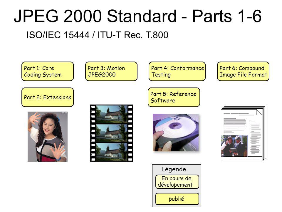 JPEG 2000 Standard - Parts 1-6 Part 1: Core Coding System Part 2: Extensions Part 3: Motion JPEG2000 Part 4: Conformance Testing Part 5: Reference Sof